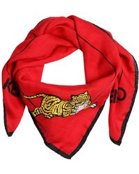 KENZO - Tiger Printed Cotton Silk Square Scarf - Lyst