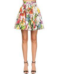 Dolce & Gabbana Mini Falda De Popelina Con Estampado - Blanco
