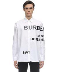 Burberry Hemd Aus Baumwolloxford Mit Logobesatz - Weiß
