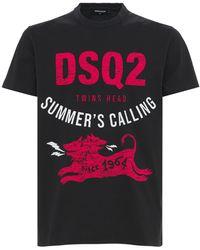 DSquared² T-shirt Aus Baumwolljersey Mit Logodruck - Schwarz