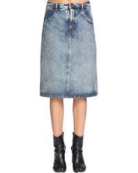 Maison Margiela Double Front Cotton Denim Skirt - Blue