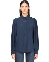 Givenchy Chemise En Crêpe En Soie Avec Chaîne - Bleu