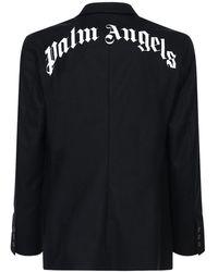 Palm Angels Куртка Из Смешанной Шерсти С Принтом - Черный