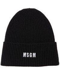 MSGM ニットビーニー - ブラック