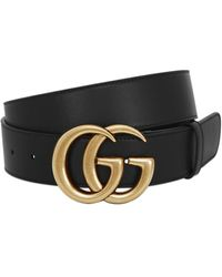 Gucci 40mm Gg Gold Buckle Leather Belt - Black