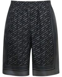 Versace Шелковые Шорты С Принтом - Серый