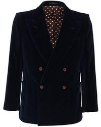 Gucci コットンブレンドベルベットジャケット - ブルー
