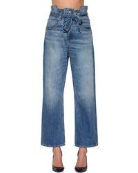 3x1 Kelly コットンデニム ペーパーバッグジーンズ - ブルー