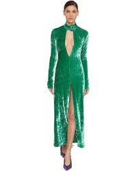 The Attico Платье Из Бархата Стретч - Зеленый