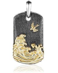 "David Yurman - Prendente ""waves Tag"" In Oro E Argento - Lyst"