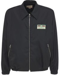 Gucci Logo Patch Lightweight Canvas Ny Jacket - Black
