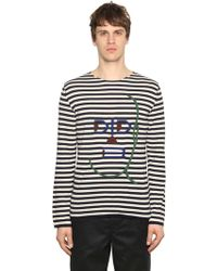 Comme des Garçons - Embroidered Striped Wool Knit Jumper - Lyst