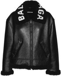 Balenciaga Logo Shiny Leather & Shearling Jacket - Black