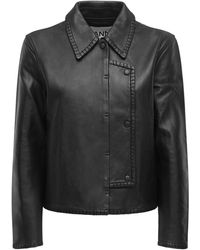 Ganni Cropped Leather Jacket - Brown