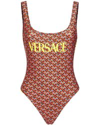 Versace Maillot Une Pièce En Lycra Recyclé Imprimé Logo - Multicolore