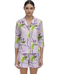 Laura Urbinati Printed Stretch Poplin Pajama Shirt - Purple