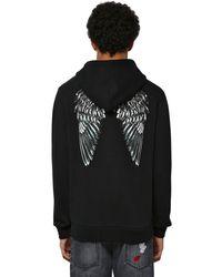 Marcelo Burlon Sweat-shirt En Jersey De Coton Imprimé Ailes - Noir