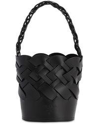 Prada Woven Leather Bucket Bag - Schwarz