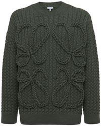 Loewe Pullover Anagram mit Zopfmuster - Grün