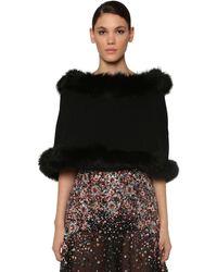 Elie Saab Hooded Wool & Cashmere Cape W/ Fur - Black