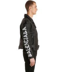 Balenciaga - Bikerjacke Aus Leder Mit Malerei-effekt - Lyst