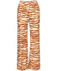 Cult Gaia Printed Viscose & Silk Satin Pants - Brown