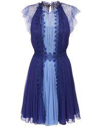 Alberta Ferretti Мини-платье Из Шелкового Атласа С Макраме - Синий