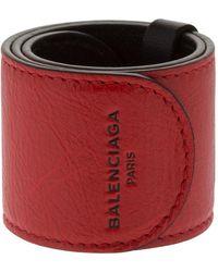 Balenciaga - Cycle Leather Slap Bracelet - Lyst