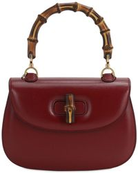 Gucci Bamboo Classic 2 Azalea Top Handle Bag - Red
