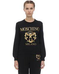 Moschino Свитшот Из Хлопкового Джерси С Принтом - Черный