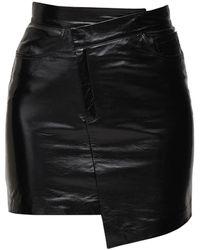 Zeynep Arcay アシンメトリーパテントレザースカート - ブラック