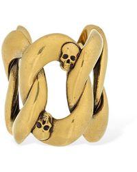 Alexander McQueen Skull & Chain Open Band Ring - Metallic