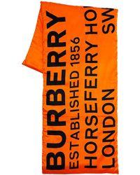 Burberry Schal Aus Seide Mit Logodruck - Orange