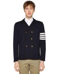 Thom Browne - Intarsia Stripes Merino Wool Knit Jacket - Lyst