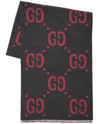 Gucci Wool & Silk Jacquard Gg Scarf - Pink