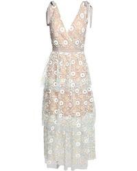 Self-Portrait Floral Sequin Lace Midi Dress - White
