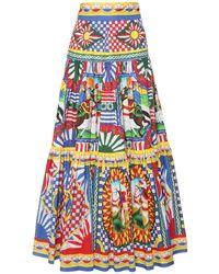 Dolce & Gabbana Carretto Print Cotton Poplin Maxi Skirt - Blue