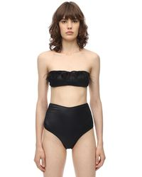 Oséree Bandeau-bikini Aus Lycra Mit Federn - Schwarz