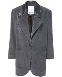 KENZO Пальто Из Вельвета - Серый