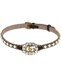 Gucci Gg Marmont Crystal Leather Choker - Schwarz