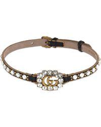 Gucci Gg Marmont Crystal Leather Choker - Braun