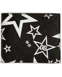 Dolce & Gabbana Brieftasche Aus Leder Mit Sterndruck - Schwarz