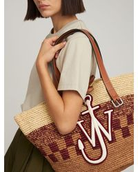 JW Anderson Embroidered Straw Tote Bag - Multicolour