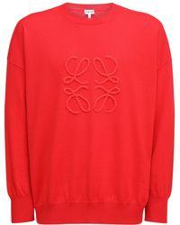 Loewe Suéter De Punto De Lana Con Logo Bordado - Rojo