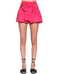 RED Valentino Cotton Poplin Mini Skort W/ Bow - Pink