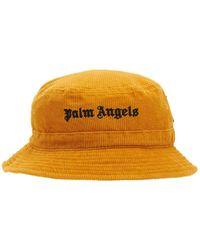 Palm Angels Fischerhut Aus Kord Mit Logo - Orange