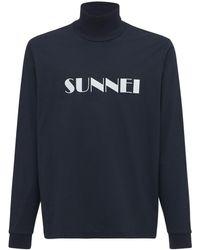 Sunnei Camiseta De Algodón Con Logo - Azul