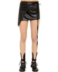 Ann Demeulemeester - Wrap Leather Mini Skirt - Lyst