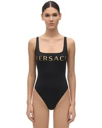Versace Printed Lycra One Piece Swimsuit - Black
