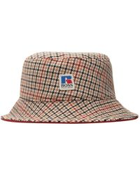 BOSS x Russell Athletic Logo Checkered Bucket Hat - Natural